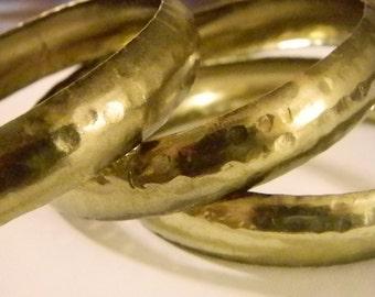 Brass Look Hammered Bangle Bracelets Hand Made - Set of 3