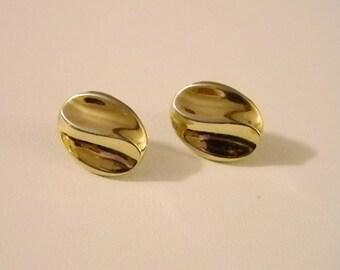TRIFARI Gold Tone Oblong Swirl Post Pierced Earrings
