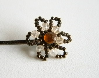 Vintage Brown Beaded Bobby Pin Hair Accessory Jewelry