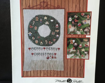 Mill Hill Christmas Advent Calendar Cross Stitch Pattern Wreath Banner Ornament