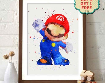 Mario Bros. - Mario Watercolor Poster
