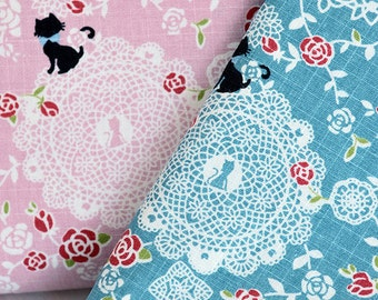 Handmade cotton linen fabric/Cat and lace/DIY Fabric/145cm width