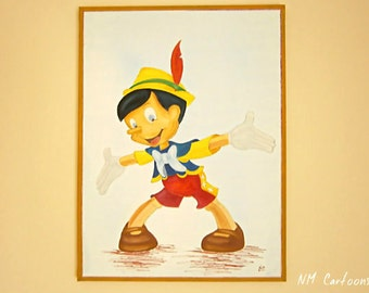 Pinocchio Canvas, Handmade Acrylic Painting for Kids Rooms or Playrooms, Art for Children, 80x60cm