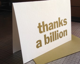 Thanks a Billion letterpress thank you cards