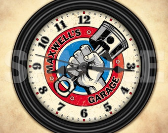 Auto Mechanic - Man Cave - Garage - Personalized Retro-Style Wall Clock