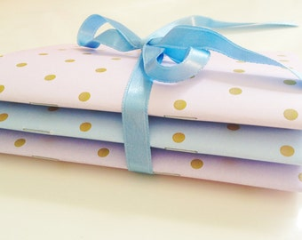 Set of 3 Mini Notebooks Dots collection, Notes, Notaped, Journal, Diary, A6,  Dots collection, Romantic, Vintage