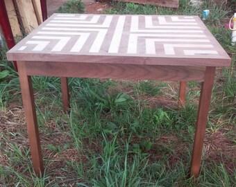 End table, walnut, maple, hand made, custom
