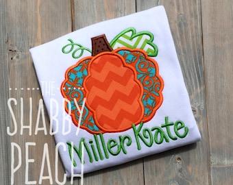 Scallop Pumpkin Applique Onesie or Shirt