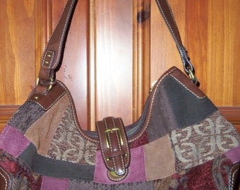 FOSSIL Handbag Purse Tapestry look with Leather Bottom and Strap... Item#9087