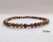 Unakite small bead bracelet, green and pink Unakite bracelet, mens bracelet, unisex bracelet
