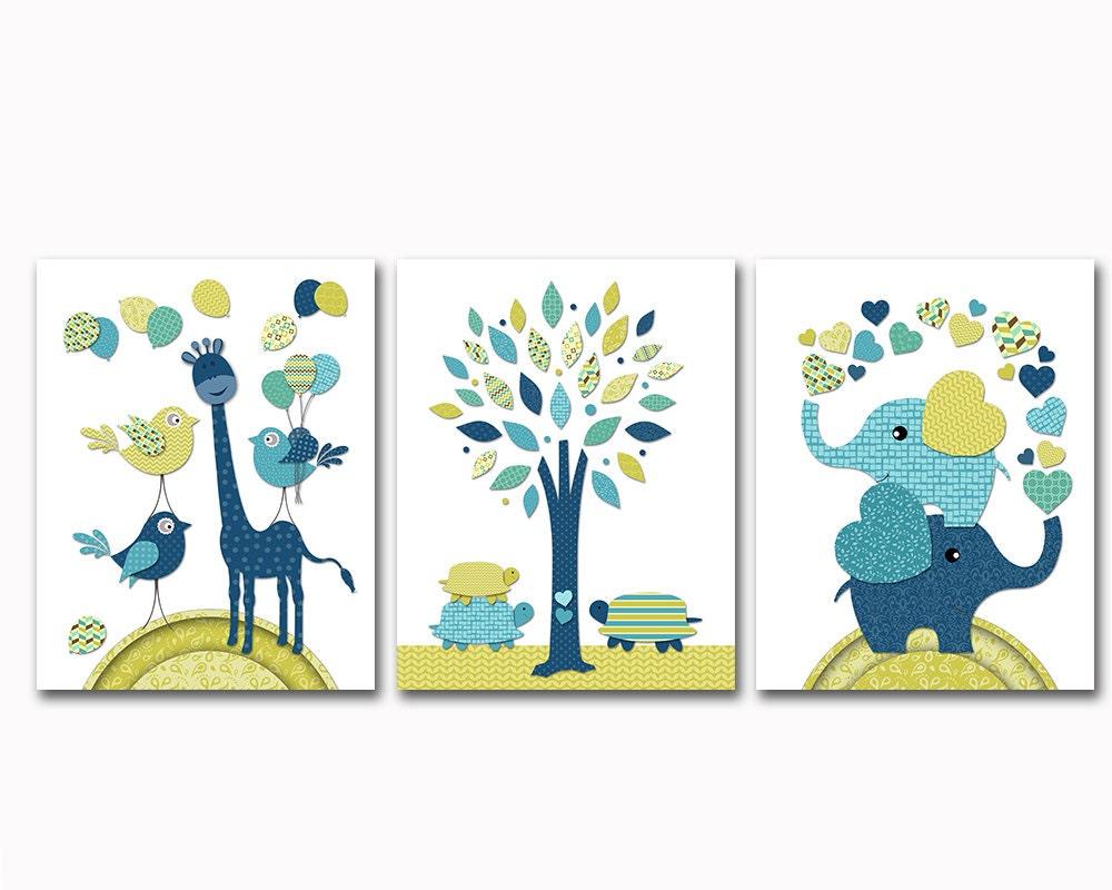 Navy Blue Wall Decor Nursery : Navy blue green nursery art baby boy room wall decor elephant