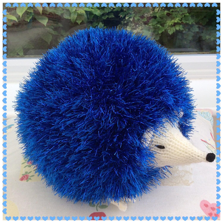 Tinsel Hedgehog Knitting Pattern : Knitted royal blue Tinsel Hedgehog / knitted soft toys / soft