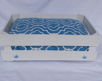 Dog Bed,Cat Bed,Wooden Crate,Lodge Lattice Print,White Pet Bed
