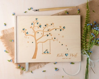LoveBirds Wedding Guestbook, Wood Guestbook, Wooden Wedding Guest Book, Custom Guestbook, Modern Guestbook, Engraved Wedding Guestbook