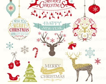 """Christmas clip art: """"Christmas Clipart"""" with vector Christmas Clipart, Christmas frames, Reindeer, 18 images, 300 dpi. PNG, EPS files"""