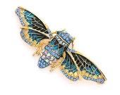 Cicada Brooch, Royal Blue Cicada Broach, Rhinestone Crystal Indigo Blue Cicada, Blue Cicada Brooches Jewelry Embellishment