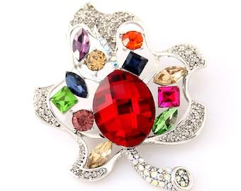 Rainbow Brooch, Colorful Crystal Leaf Broach, Rhinestone Brooches Jewelry