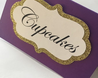 Royal Purple/Gold Glitter Tent Cards // Candy Buffet Cards // Place Cards // Food Tent Cards