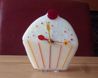 Fused glass cupcake clock