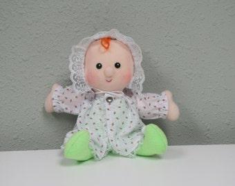 Soft Baby Doll, Hand made cloth doll, Carolee,  fabric Baby rag doll
