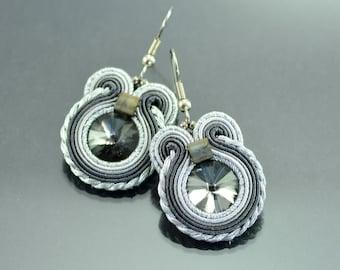 Small Graphite Soutache Earrings - Dangle Earrings - Dark Gray Earrings - Silver Dangle Earrings - Small Dangle Earrings - Soutache Earrings