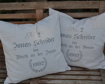 German Grainsack Pillow with patches, 16x16, 18x18 or 20x20