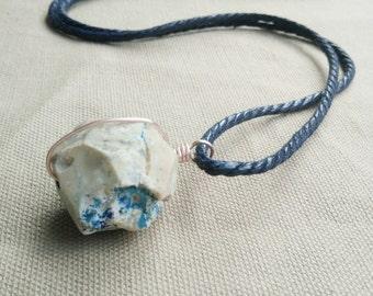Raw Quartz Necklace- Mens Quartz Necklace- Men Gemstone Necklace- Quartz Crystal Jewelry- Raw Crystal Jewelry- Boho Necklace- Gemstone