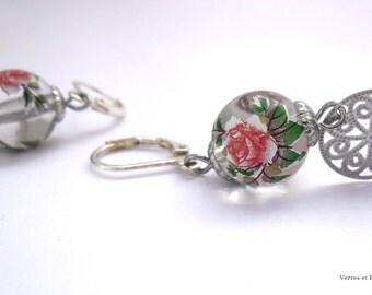Earrings Pink Pearl and print