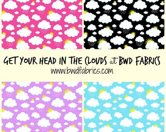 Clouds and Sun on Black Pink Purple or Aqua Blue Cotton Lycra Knit Jersey Fabric [SKU:MFR8FAB006]