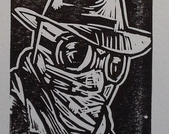 Now You See Me (Invisible Man) Linocut Print