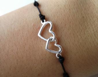 Bracelet hearts Silver 925 - black pattern cotton intertwined hearts Bracelet - Silver 925/000 - hearts bracelet 925 silver sterling