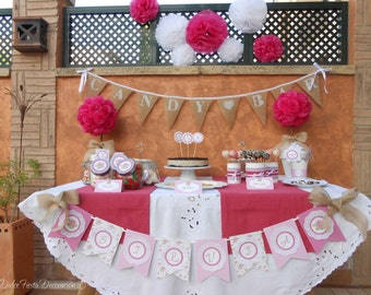 Kit imprimible Shabby chic en rosa y fucsia-Printable Shabby chic pink