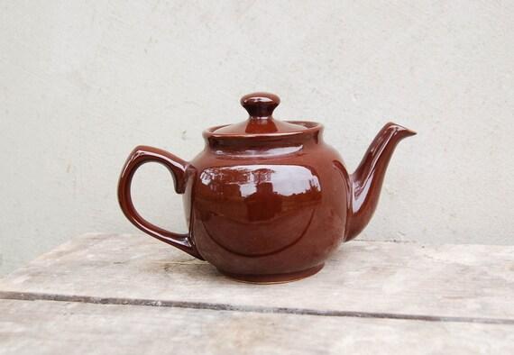 Vintage Brown Ceramic Teapot 1980 39 S Kitchen Decor Tea