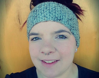 Grey Earwarmer, Crocheted Headband