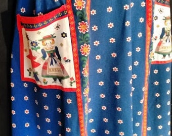Vintage Large Long Apron Pinny Blue and Red Scandinavian Design