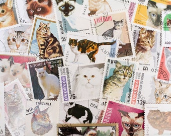 20 x Vintage Cat Postage Stamps Junk Journal Meow Collage Paper Ephemera All Different Crazy Cat Lady Lot Paper Supplies Scrapbooking