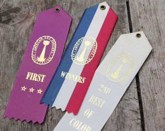 Vintage Award Ribbon American Cat Fanciers Ribbon First Place Winner 1960s Prize Best of Color Supplies Scrapbooking Party Gift Tag