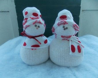 Pair of Handmade Sock Snowmen