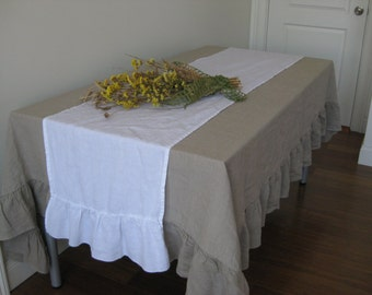 "Pure White 18"" x 90"" Linen Table Runner with Ruffled Edge"
