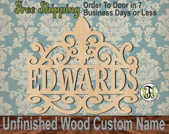 Fleur de Lis Scroll Name Plate- No. 990004N- Personalized Cutout, unfinished, unpainted, wood craft, laser cut, wooden blank, DIY, Wedding