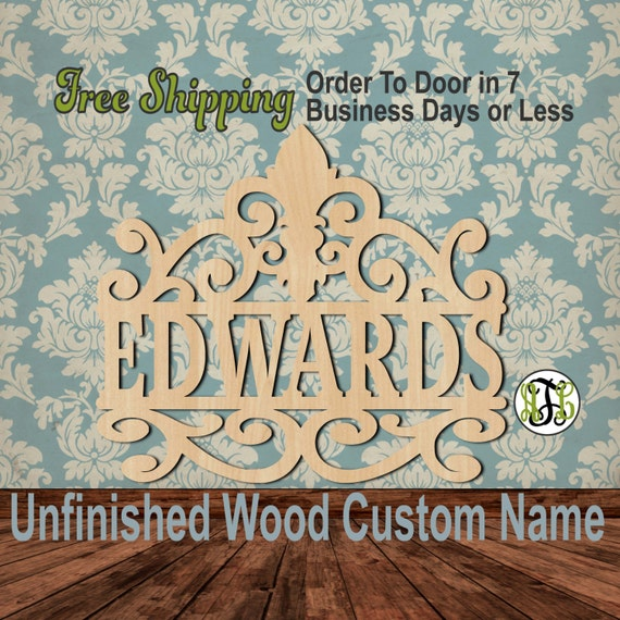 Fleur de Lis Scroll Name Plate- 990004N- Personalized Cutout, unfinished, wood cutout, wood craft, laser cut, wood cut out, Wedding, wooden