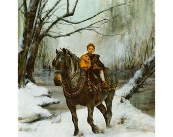 Print, Draft Horse, Winter River
