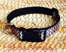 "Preppy Chevron Dog Collar Adjustable Pet Accessory Durable Custom - Navy Chevron Boy Collar YOU CHOOSE 1"" Webbing Color 4 Sizes Available"