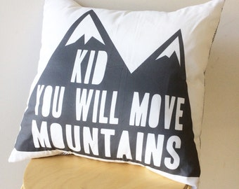 Move mountains grey cushion cover. Pillow cover. Monochrome modern nursery.
