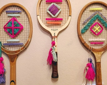 Custom Vintage Tennis Racket Woven Wall Hanging