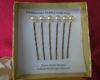 Bridal pearl hair pins, Swarovski 8 mm pearl hair pins, Wedding pearl hair pins, Bridesmaid hair pins