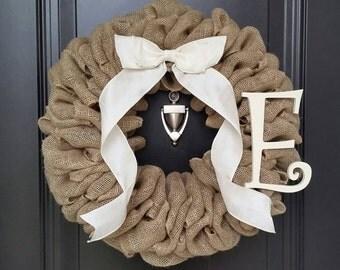 Basic Burlap Wreath - Burlap Wreath - Decorative Wreath - Year Round Burlap Wreath