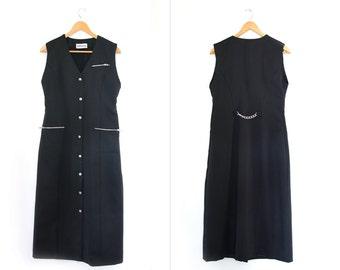 Vintage black dress. Long black dress. Classic chic. 90s Grunge. Gothic dress. Button front dress.