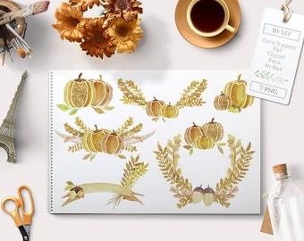 gold fall clipart, watercolor fall clipart, pumpkin clipart, halloween clipart, flower fall graphics, autumn clipart, autumn graphics,