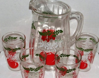 ZERO SHIPPING! Vintage Anchor Hocking Tomato Juice Set - Pitcher & 4 Juice Glasses